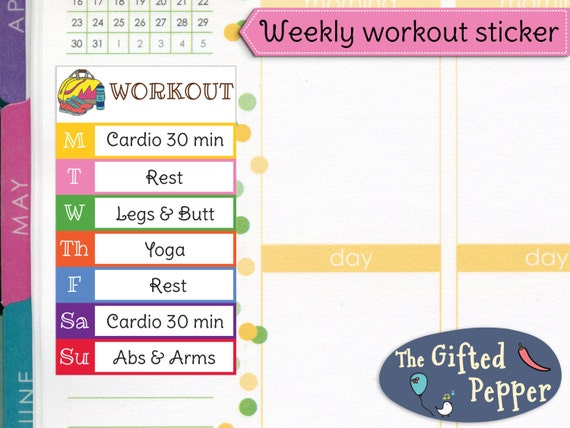 Printed Weekly Workout Plan Stickers Exercise Log Fitness Weight