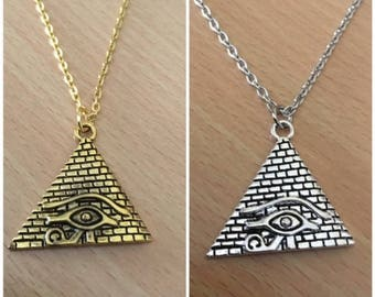 Egyptian Pyramid Necklace   Pyramid + Eye of Horus Necklace   Eye of Ra Necklace   Egyptian Necklace   African Pendant Jewelry   Eye Jewelry