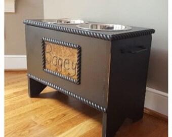 Personalized, Dog Food Storage And Feeder, Dog Food Storage, Elevated Dog  Bowl Stand With Storage, Dog Furniture, Black Custom
