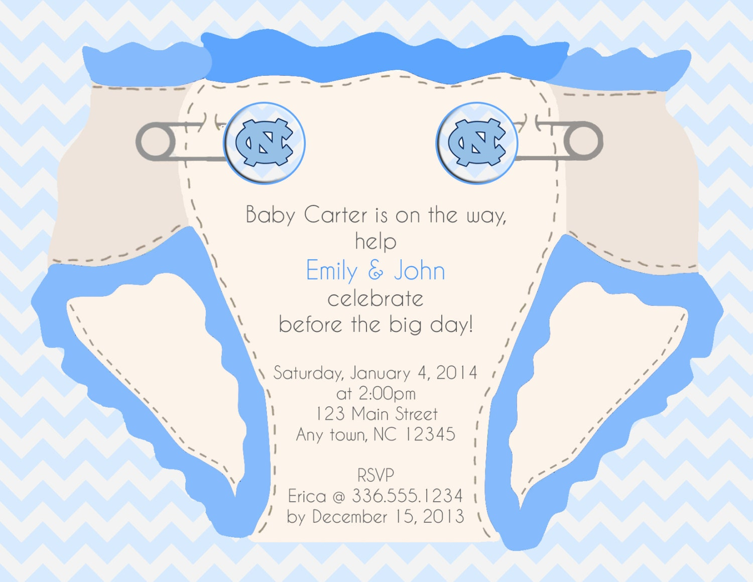 Carolina Tarheel Baby Shower Invitation