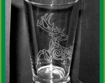 Celtic Knotwork Stag drinking glass - ornate deer - etched pint