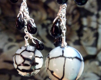 Ethereal White and Black Crackle Agate Earrings with Black Glass Drops