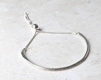 Textured 'peak' adjustable bangle: Argentium Silver 935