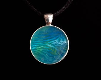 Abstract Blue Coral Acrylic Pendant With Black Cord Necklace