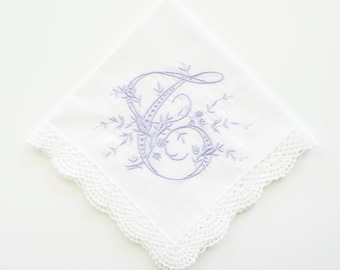 Monogrammed Handkerchief, Hemstitched Linen Handkerchief,  Bridal Handkerchief, Wedding Handkerchief, Bridal Party Gifts & Favors