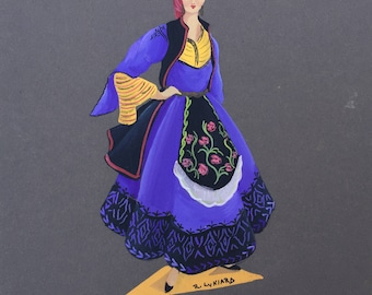 Original hand painted traditional Greek costumes. Beautifully detailed vintage greek folk art, hand painted in gouache. Two to select from.
