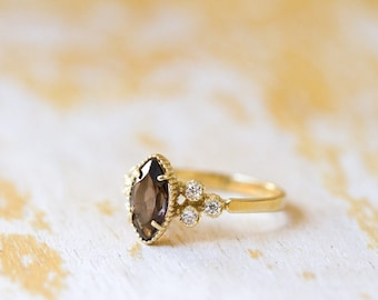 Gold rings with gems, Gem stone gold ring, Gold ring with Smoky Quarts, Gold engagement ring, 14k Gold ring, Gold ring with Cubic Zirconia.