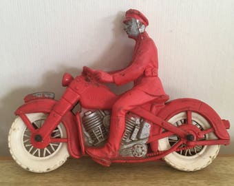 Vintage Auburn Rubber Police Motorcycle Toy