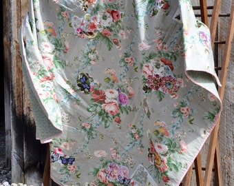 Garden Collage, Throw Size Quilt, Green Pink Flowers, Vintage Fabric, Heirloom