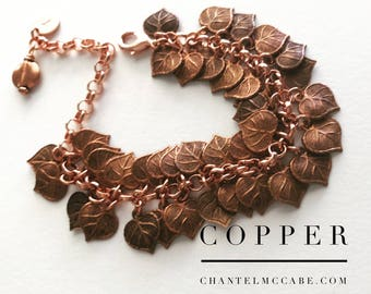 Utterly scrumptious copper bracelet with small leaves and bead dangle, adjustable length, plus optional stamped mini tag. Perth Australia