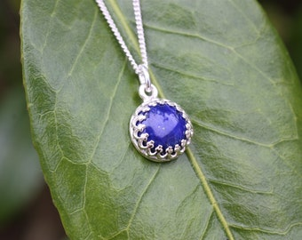 Lapis Lazuli Gemstone Pendant Necklace, Healing qualities, sterling silver