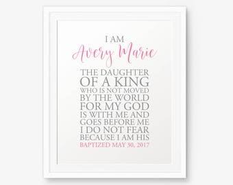 Personalized Baptism Printable, I Am The Daughter of a King, Girl Baptism Gift, Baby Shower Gift, Dedication Gift, Baby Christening Gifts