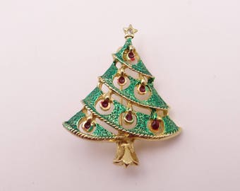 Vintage Green Textured Enamel Christmas Tree Brooch Pin with Red Enamel Accent Ornaments Detail on a Gold Tone Setting - Stocking Stuffer