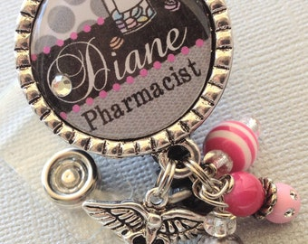 Pharmacy Technician ID Badge Reel Personalized Name Silver Pendant  - ICU rn, CPhT, Caduceus charm,pharmacist, medical symbol,