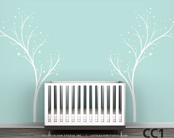 Twinkle Tree - Tree Stars Decal - Modern Kids Room Decor