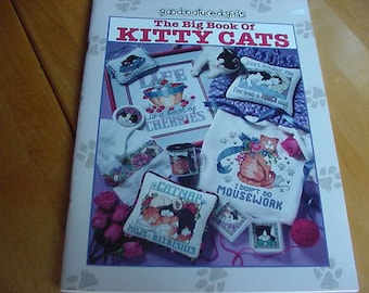 1997 Big Book of Kitty Cats Counted Cross Stitch Pattern Book, Good Natured Girls