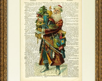 SANTA WITH TOYS 02 Dictionary Page Print - a fun Santa illustration on an antique dictionary page- charming vintage Christmas wall decor