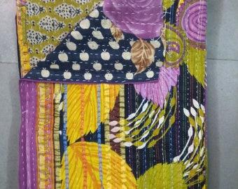 Vintage kantha Quilt Handmade kantha sari Throw