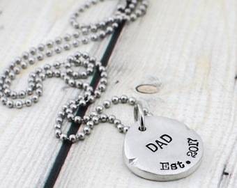 Custom Hand Stamped Mens Necklace - Name Necklace - New Dad Gift for Men - Custom Necklace for Men - Daddy Necklace - Mens Jewelry