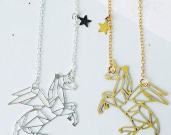 Winged Unicorn Personalised Constellation Necklace