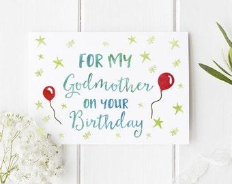 Modern birthday card etsy godmother birthday card perfect birthday card for godmother with beautiful design a6 size birthday bookmarktalkfo Choice Image