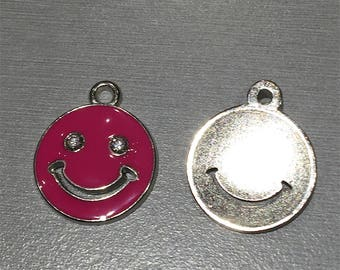 Smiley + 2 RHINESTONE pink enamel