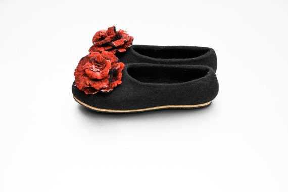 for sheep wool rose slippers brooch slippers felted from women alpaca Hygge Black and Comfortable Black her woolen for roses with slippers Hvwnx