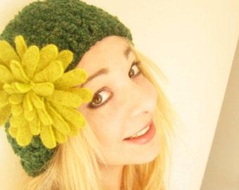 Green Crochet Beret Hat -Felt Flower Brooch-Hand Felted with Merino Wool in lime green