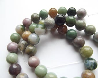 Indian agate multicolor 8 mm REIA 815 46 smooth round beads