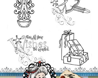 Christmas Fairy Set Digital Stamp Digi Instant Download ID:NV-DS0060 By Nana Vic