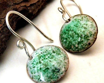 LAST Pair of MINI MINT Copper Enamel Earrings Small Round Discs Green and White on Handmade Sterling Silver Dangly Earwires, Artisan Jewelry