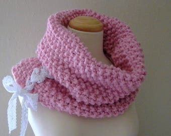 big flirt. handknit pink cowl . chunky knit cowl neck warmer . vintage lace corset cowl . shabby chic fairy kei warm winter cowl