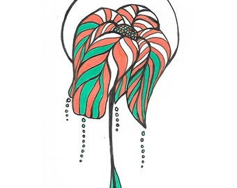 """Titled """"Growth"""" ink and marker illustration print"""