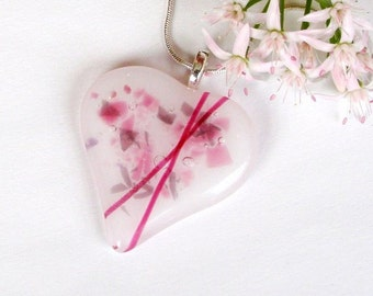 Cross My Heart Fused Glass Pendant -  Fused Glass Jewelry - Pink and White Glass
