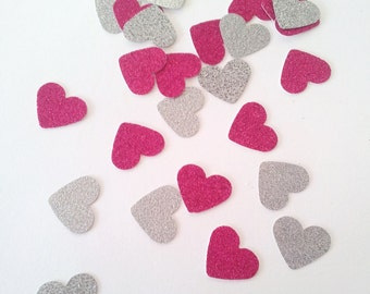 SPARKLEHEARTS- Confetti / Table Scatters - Pink and Silver Glitter Party Decoration