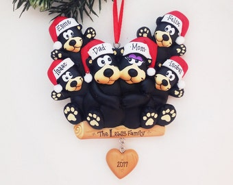 6 Black Bears Family Ornament / Personalized Christmas Ornament / Family of Six Bears / Christmas Ornament