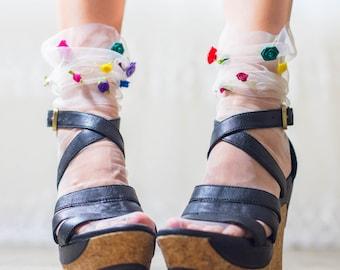 White French TULLE socks with coloured satin ROSES - Fun Fairy Princess Sheer Ankle Socks - Retro Fashion Mesh Socks - Summer Bridal socks