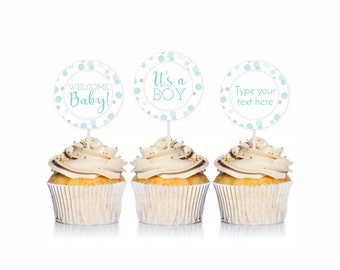 Blue and Silver Baby Shower Cupcake Toppers, Its a Boy, Welcome Baby, 1 Editable, Blue Baby Shower Party Circles, PRiNTABLE INSTANT DOWNlOAD