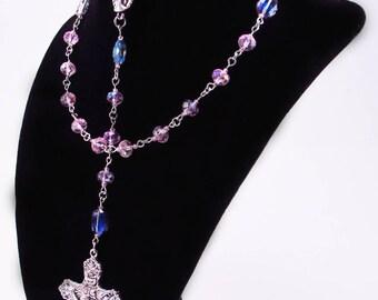 Rosary, Light Purple Czech Crystal Beads, Religious, Spiritual, Antique Style Bronze, Catholic, Cross, Prayer Beads, Crucifix, Free Shipping