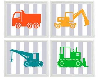 Construction Trucks Nursery Art - Boy Room Gray Stripes Blue Green Orange - Wall Art Print Home Decor    Prints