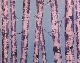Modern art acrylic painting birch tree blue, white black. Peinture acrique moderne bouleaux bleu blanc noir