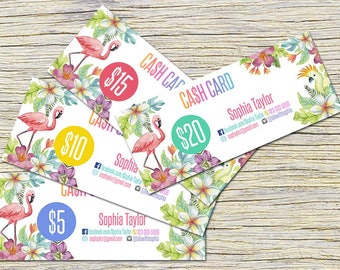 Flamingo Cash Cards, Free Fast Personalization ,  Money Card, Digital Files,  Bucks, Flamingo Price Cards Signs