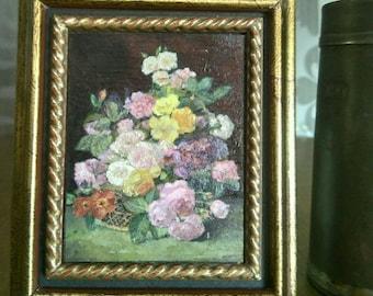 """Mini version painted oil of """"Flowers"""" of Jan Frans Van Dael.  Measures with frame 7 cm x 8 cm"""