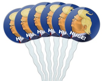Huge! donald trump caricature with wind blowing hair funny cupcake picks toppers decoration set of 6
