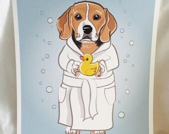 Bubbly Beagle - 8x10 Eco-friendly Print