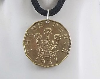 1937 English Coin Pendant, Three Pence, 3 Pence, Coin Pendant, Leather Cord, Mens Necklace, Womens Necklace, Vintage