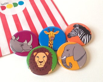 Safari Animal Badges, button badge pack, cute stocking fillers, zoo animals, elephant badge, lion button, kids party bags, African animals