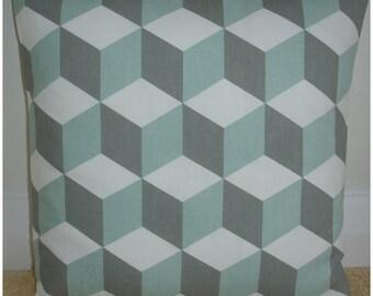 "Duck Egg and Grey 16x16 Pillow Cover 16"" Gray Geometric Cube Decorative Pillow Cushion Slip Sham Case Pillowcase Contemporary Modern Cubes"