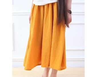 Women cotton and linen skirts – wild loose skirt