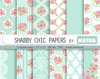 "Shabby chic digital paper: ""SHABBY CHIC PAPERS"" with rose pattern, floral scrapbook background, blue patterns, damask for invitations"
